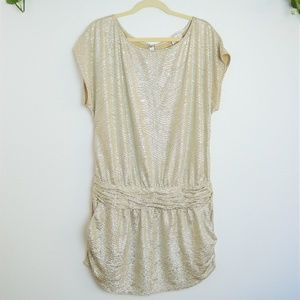 BCBGeneration Metallic Gold Low Waist Tunic Dress
